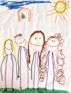 This piece of art was created by Lauren at least four years ago. She's the one with the curls on the right, I'm the one next to her. Wouldn't it be wonderful if life was all sunshine and rainbows? ©KAY MCLANE DESIGN, LLC