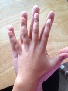 This is a picture or my granddaughter Lauren's hand on top of mine. We've been doing this since she was about two years old. Hers is one hand, that I can always reach out to, to know I'm loved. ©2014 PEACE FULL HOME.COM